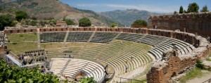 taormina italy sicily greek roman theater view of mount aetna etna